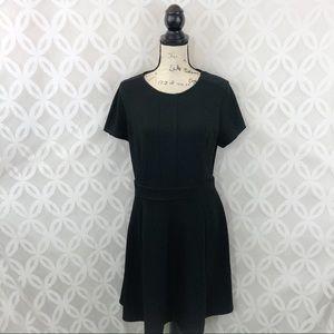Elle Black Waffle Skater Dress